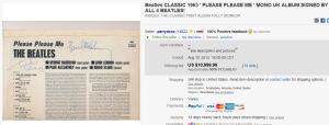 1. Most Expensive Memorabilia Sold for $10,099.99. on eBay