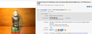 1. Most Expensive Mechanical Bank Sold for $2,626.76. on eBay