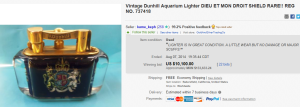 1. Most Expensive Lighter Sold for $10,100. on eBay