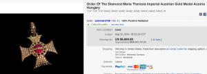 1. Most Expensive Medal Sold for $6,600. on eBay