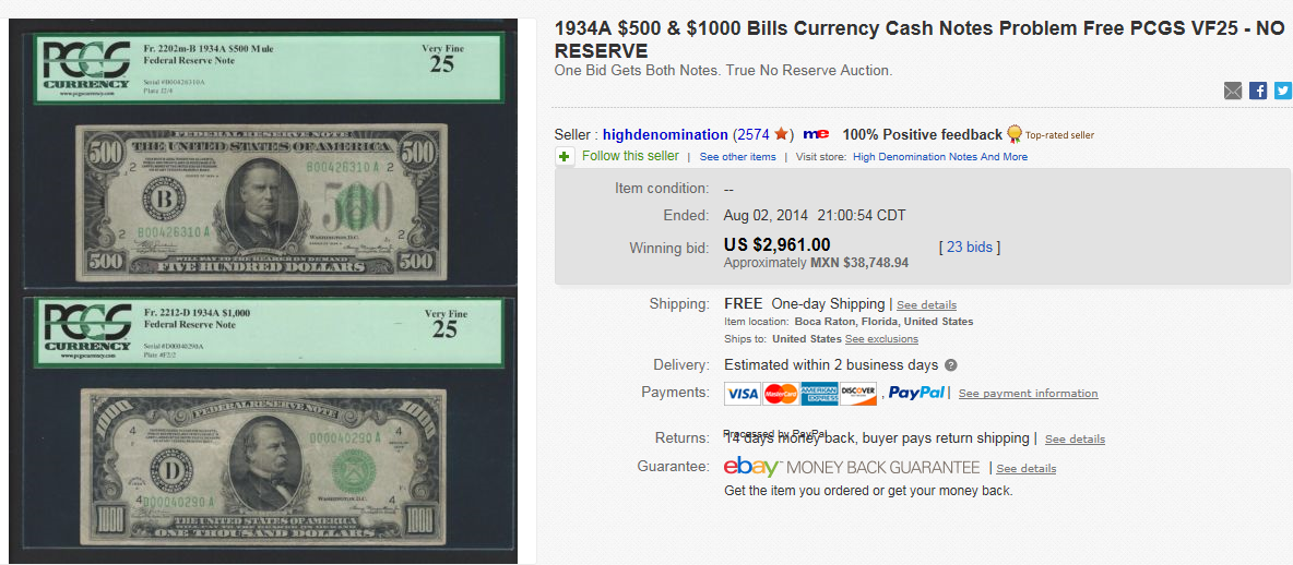 Top Currency Sold For 2 961 On Ebay