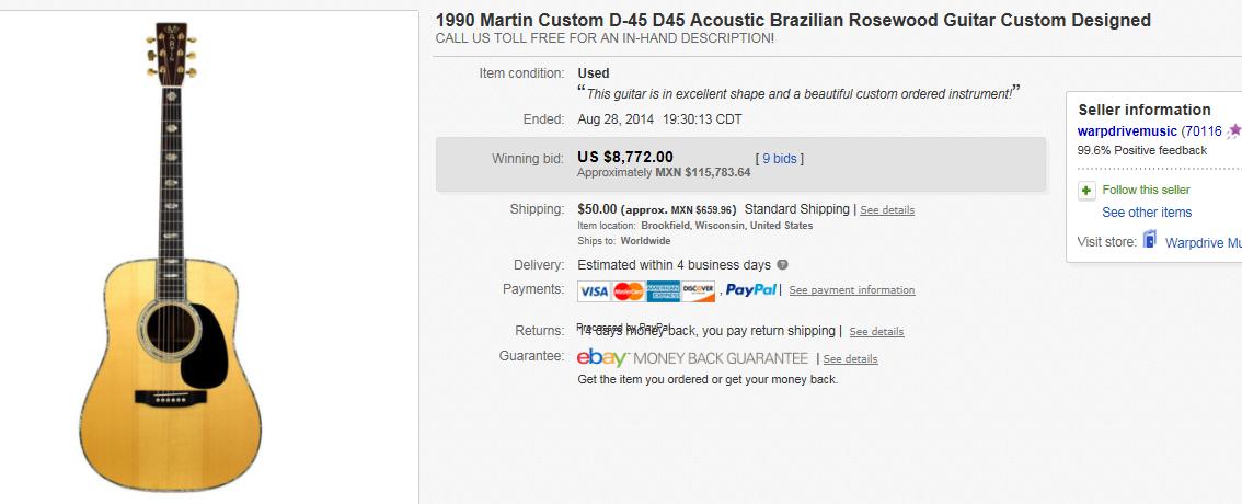 most expensive guitars sold on ebay august 2014. Black Bedroom Furniture Sets. Home Design Ideas