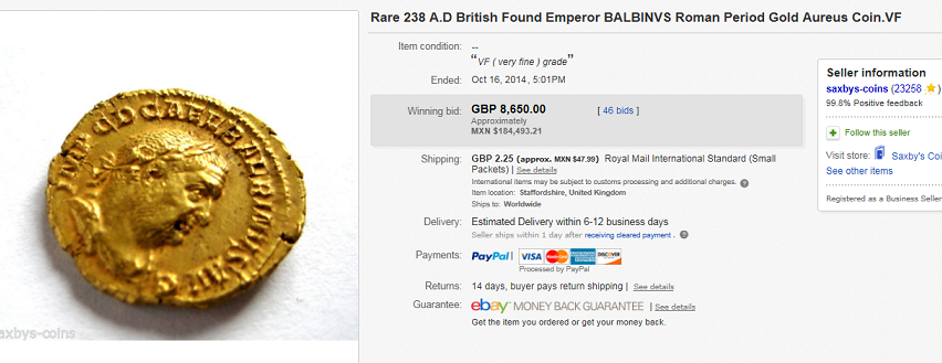 most expensive coin sold on ebay