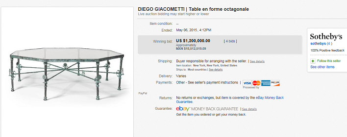Most Expensive Furniture Sold On Ebay May 2015