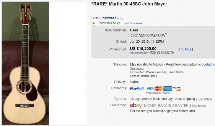 most expensive guitars sold on ebay june 2015. Black Bedroom Furniture Sets. Home Design Ideas