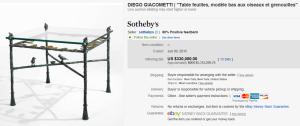 Diego Giacometti, Table Feuilles, Modèle Bas Aux Oiseaux Et Grenouilles