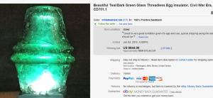 Teal/Dark Green Glass Threadless Egg Insulator, Civil War Era