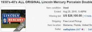 Lincoln Mercury Double Sided Neon Sign